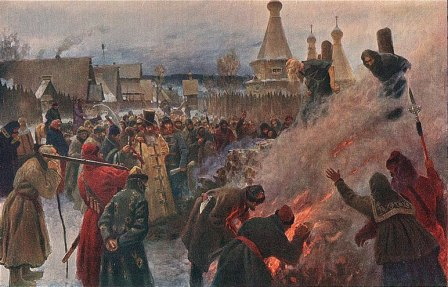 Христиане сжигают волхва